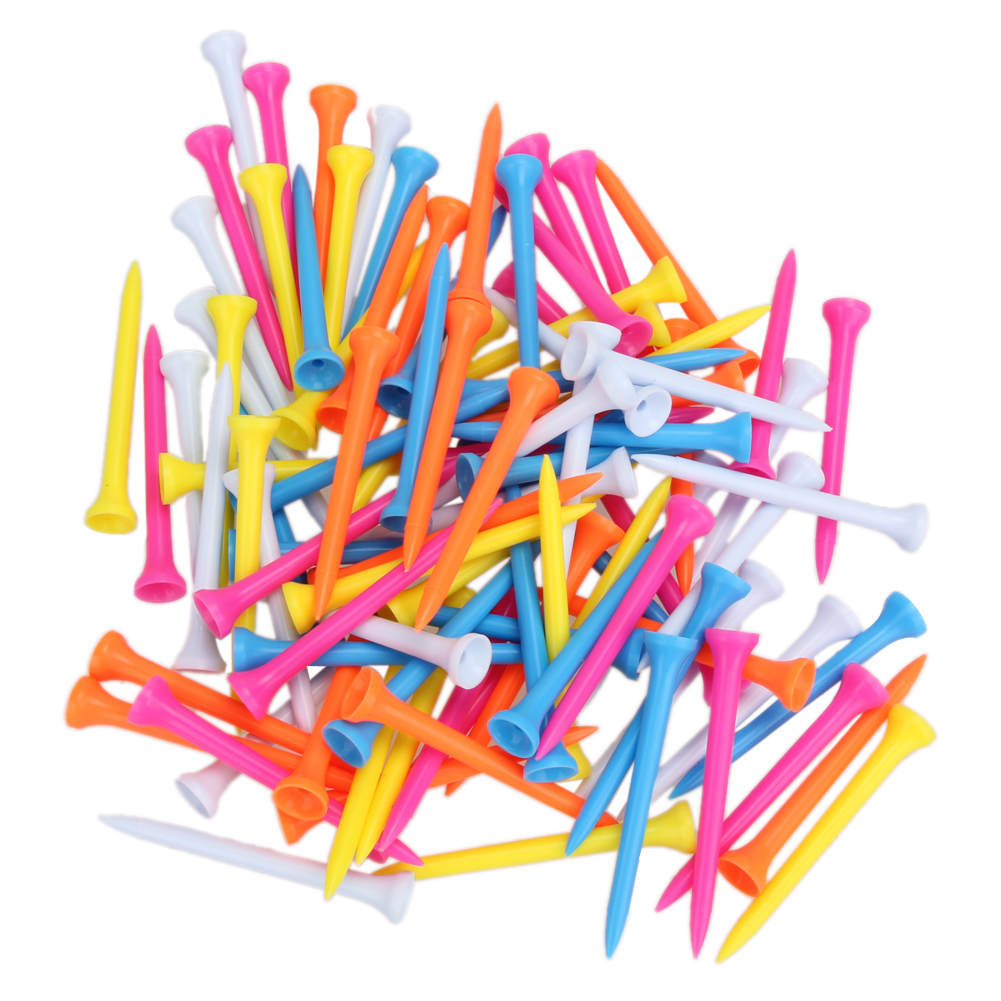 100Pcs/Set Mixed Color Lightweight Portable To Carry Plastic 69mm Golf Tees Golf Training Aids Essential Accessory For Golfer