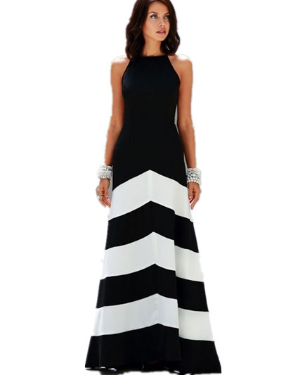Popular Black and White Striped Fitted Dress-Buy Cheap Black and ...