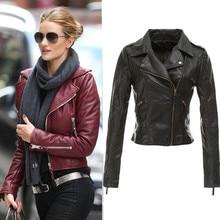 Black designer womens short zipper leather jacket