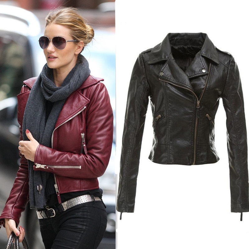 Popular Ladies Black Leather Jacket-Buy Cheap Ladies Black Leather ...