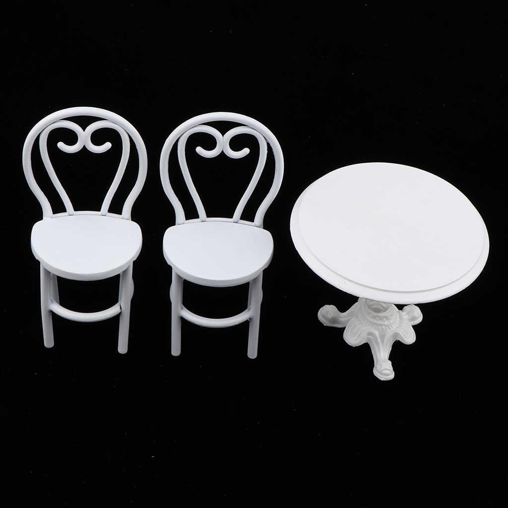 1/12 макеты кукольного домика мебель белый обеденный стол и 2 модельные стулья набор Дети ролевые игры игрушки