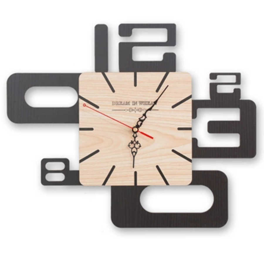 Art Mute Abstract Wall Clock Large Simple Home Decoration Accessories Simple Modern Design Wooden Clocks for Bedroom 3DBGJ12