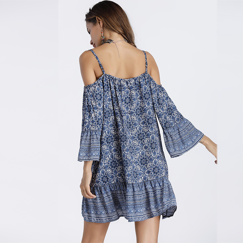 Sexy V Neck Bohemia Floral Women Beach Dress Strapless Printing Sling Female Dress 2019 Summer Casual Fashion clothes in Dresses from Women 39 s Clothing
