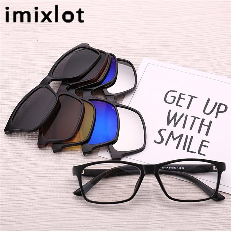 IMIXLOT gafas de sol magnéticas polarizadas Clip magnético Clip de espejo en gafas Hombres Flip Myopia Women Prescription Optical