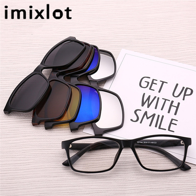 d6429336b6 IMIXLOT Polarized Magnetic Sunglasses Clip Magnet Mirrored Clip on Glasses  Men Flip Myopia Women Prescription Optical