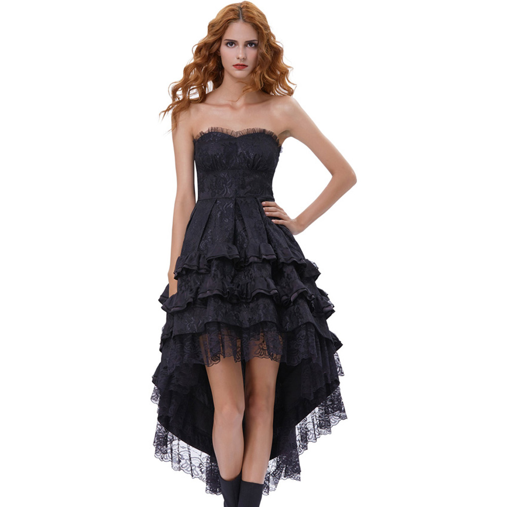 Belle Poque 2018 Gothic Victorian Dresses Women Summer Black Lace Sleeveless Strapless Ruffle Retro Vintage 50s Party Club Dress 3