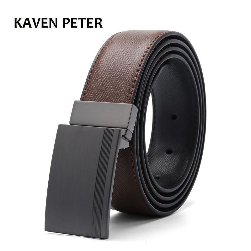 Luxury Leather Belt Men Plate Reversible Buckle With Toothpick Pattern Business Dress Belts Dropship Suppliers Black Blue Brown