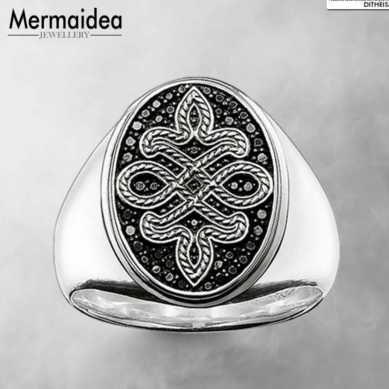 Signet Ring Elegant Love Knot Black 2019 New Fashion Jewelry 925 Sterling Silver Trendy Party Gift for Women Men Boy Girls Lover