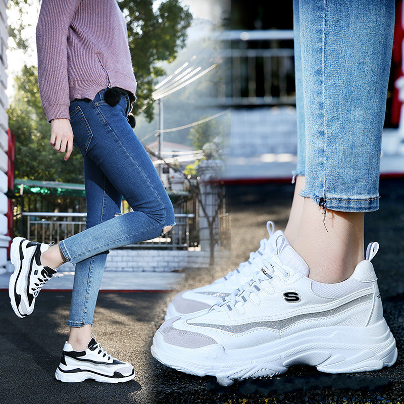 Womens sneakers spring 2019 new casual ins super fire old leather fashion wild sports womens shoes