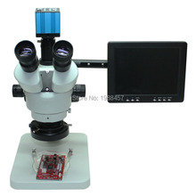 Big discount Continuous Zoom Binocular Visual 7X-45X Trinocular Stereo Microscope+ HDMI HD USB  Camera+8-inch HD Monitor+LED Lights
