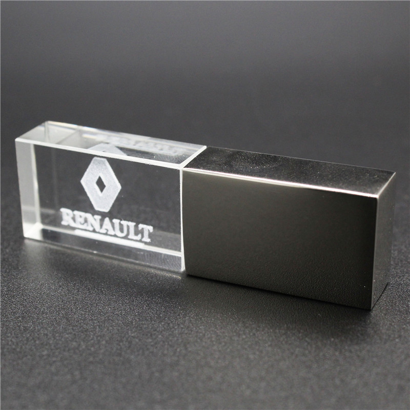 Usb2.0 Metal Crystal Renault Car Key Model USB Flash Drive 4GB 8GB 16GB 32GB Precious Stone Pen Drive Special Gift