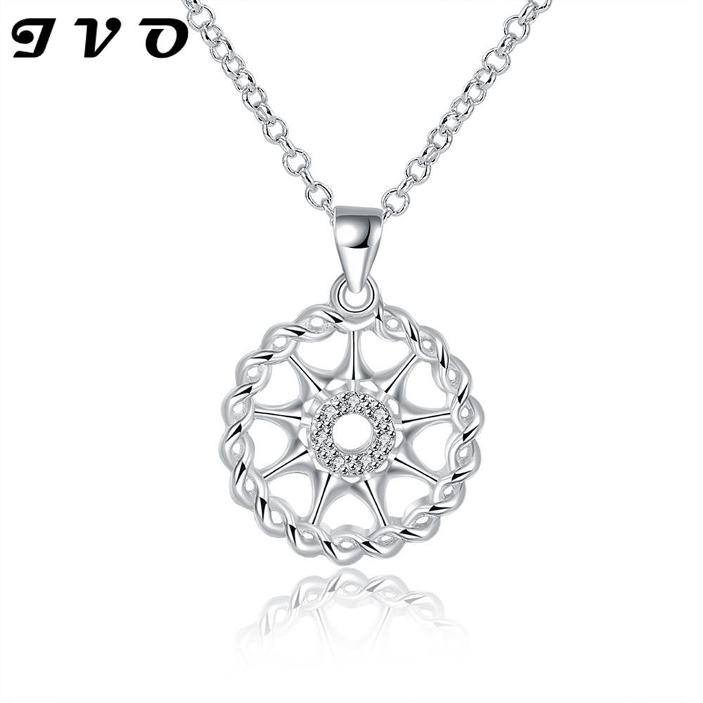 2016 fashion new design cute exquisite hollow pave zircon pendant necklace jewelry for font b women