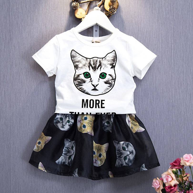 Children Clothing Suits For Girls 2017 New Summer Fashion Cat PatternShort Sleeve T-Shirt Sets Casual Costumes For 3-8Y old Girl