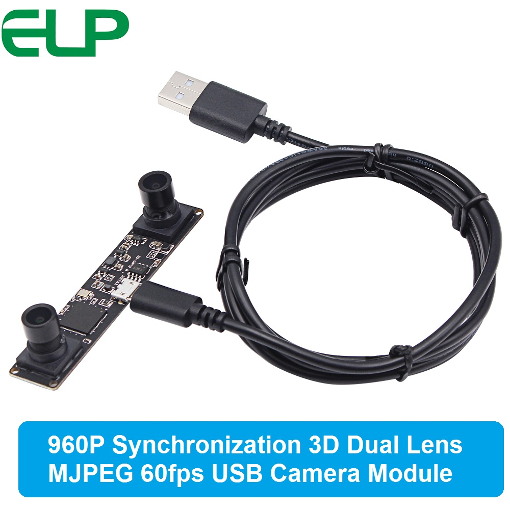 Synchronization 3D USB 2.0 MJPEG 60fps 1.3MP UVC mini webcam Dual lens Stereo usb camera module board for Android Windows Linux free driver mini dual lens industrial usb 2 0 camera webcam module for vr box glasses
