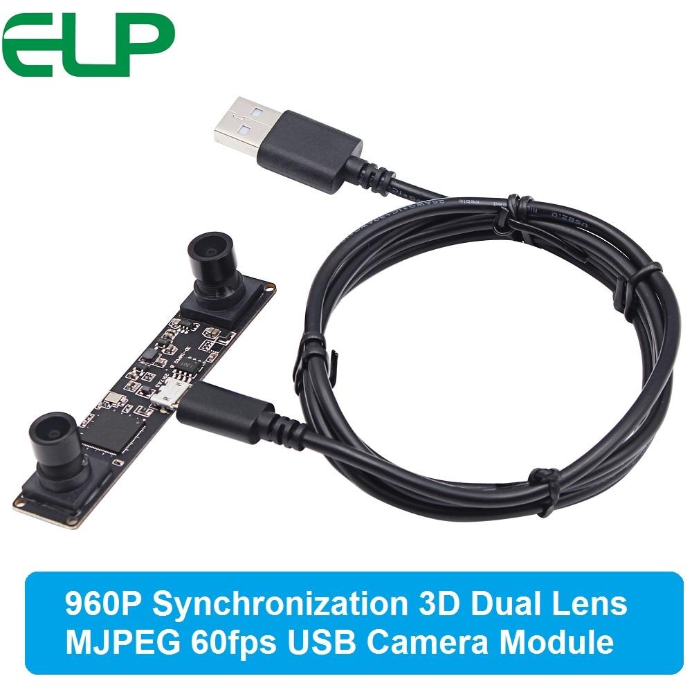 Synchronization 3D USB 2.0 MJPEG 60fps 1.3MP UVC mini webcam Dual lens Stereo usb camera module board for Android Windows Linux