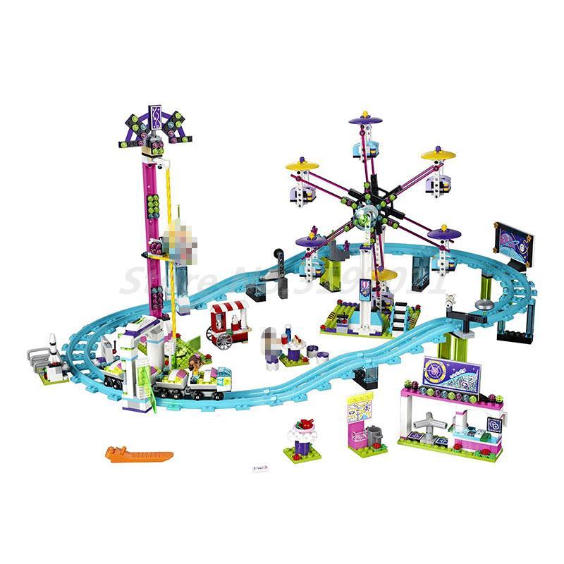 LEPIN Amis Série 3D Blocs de Construction 41130 Parc D'attractions Rouleau Côte Figure 1124 Pcs Briques Éducatifs Jouets Pour Enfants Cadeaux