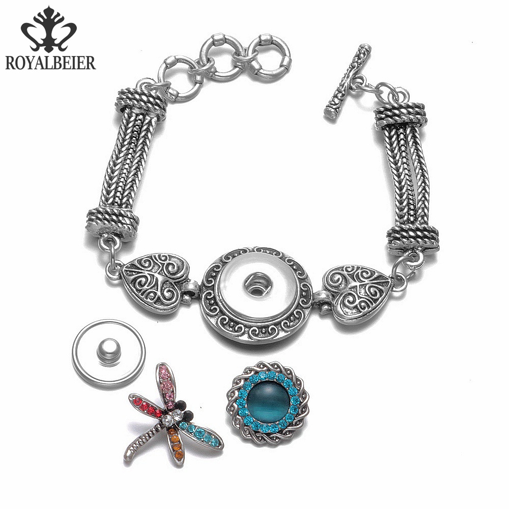 ROYALBEIER New Silver Vintage Flower Love Metal 18mm Snap Button Jewelry Bracelet For DIY Snap pulseiras feminina Jewelry SZ0470 in Charm Bracelets from Jewelry Accessories
