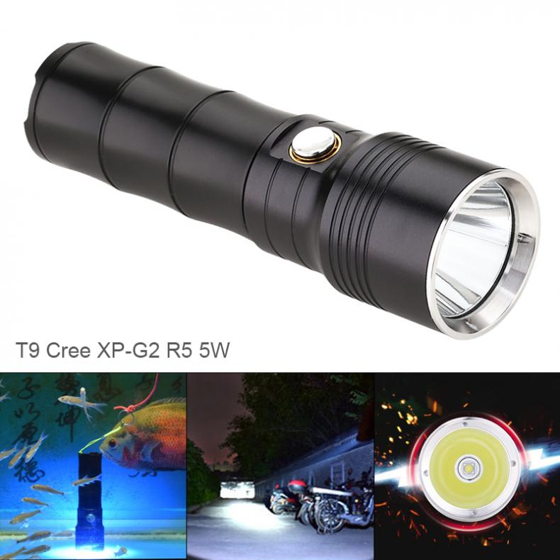 5W T9 450 Lumens R5 LED Light Flashlight Waterproof IP68 2 Meters Underwater with 6 Modes for Camping Hunting Night Riding