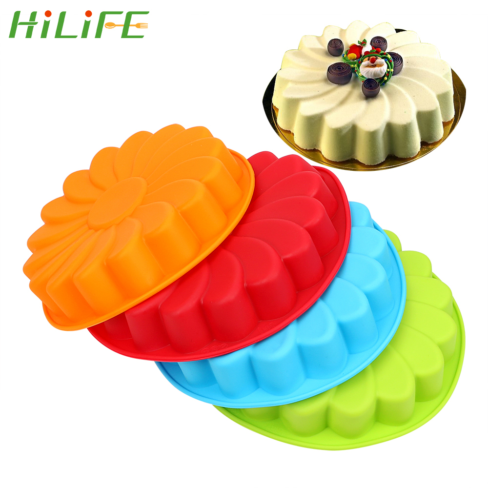 HILIFE DIY 3D Sunflower Form Fondant Cake Silicone Mold Cake Decorating Tool For Baking Cookie Mould Kitchen Pastry image