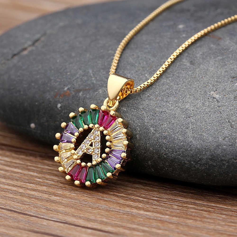 Venda quente cor do ouro inicial multicolorido cz colar charme carta colar nome jóias para acessórios femininos presente namorada