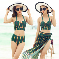Swimsuit Women S Chiffon Bikini Three Piece Sweatsuit Coveralls Small Chest Split Sexy Women Beach High