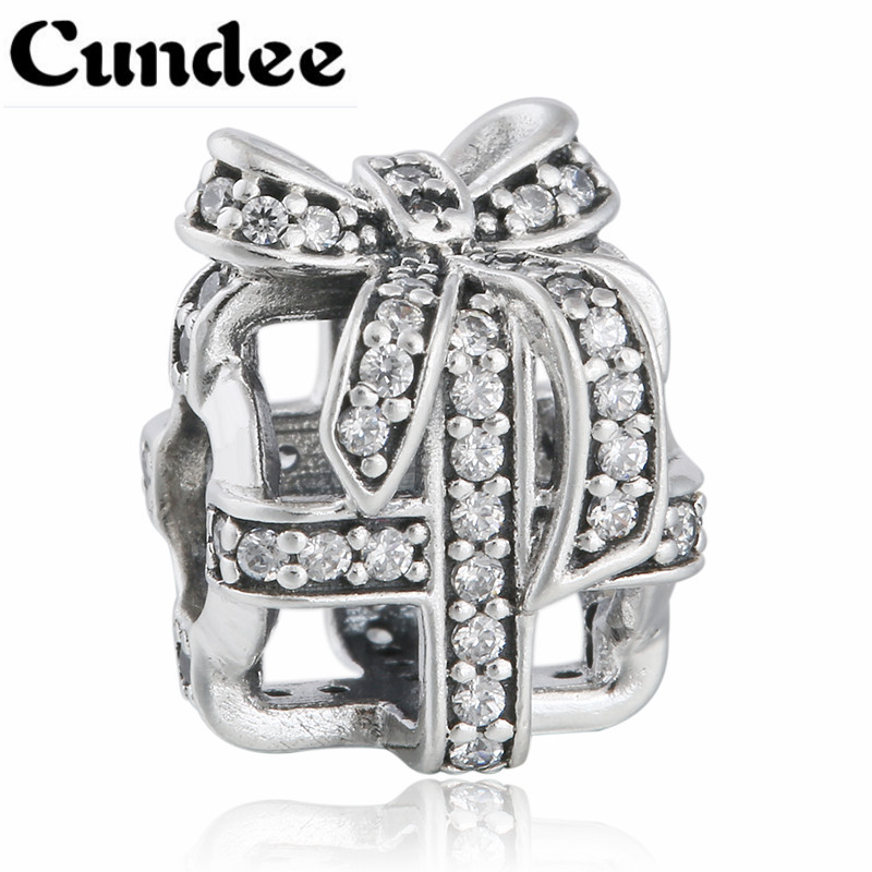 2015 Winter Christmas Gift Box Charm Beads 925 Sterling Silver Micro Pave CZ Bow Knot Charms