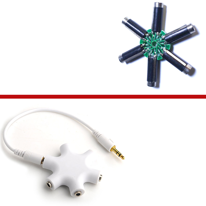 White 3.5mm Hexagon Shape Music Sharer Headphone Splitter One Point Five 3.5mm Audio Snowflake Sharer Extension Jack 6 Multi Por