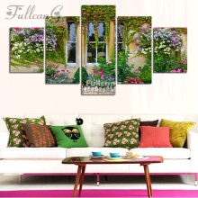 FULLCANG 5d diamond mosaic diy painting 5 pcs window flowers full square embroidery landscape pattern F116
