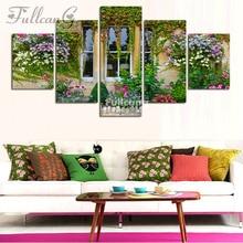 FULLCANG 5d diamond mosaic diy painting 5 pcs window flowers full square embroidery landscape pattern F116