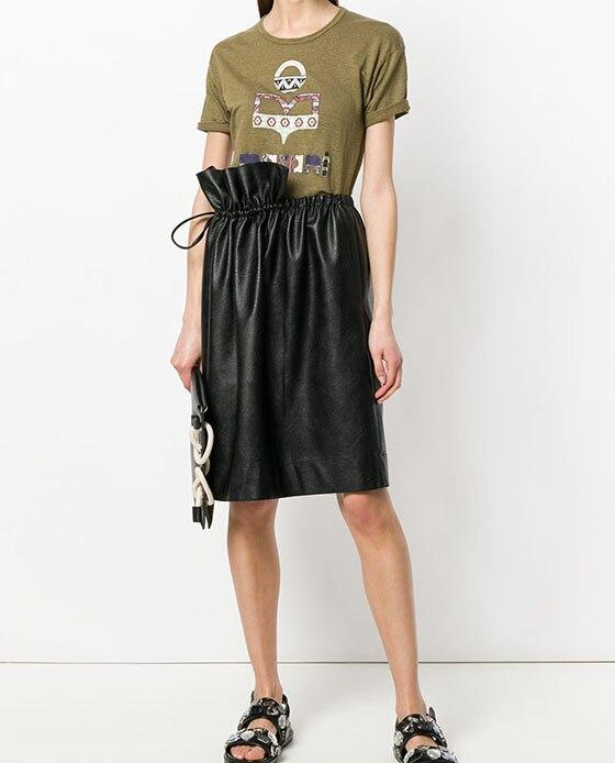 Camisetas 2019ss De Redondo Mujer Logotipo Tops Corta Verde Impresión Militar Cuello Larga Manga Camiseta Nueva Bc7UHxwzWq