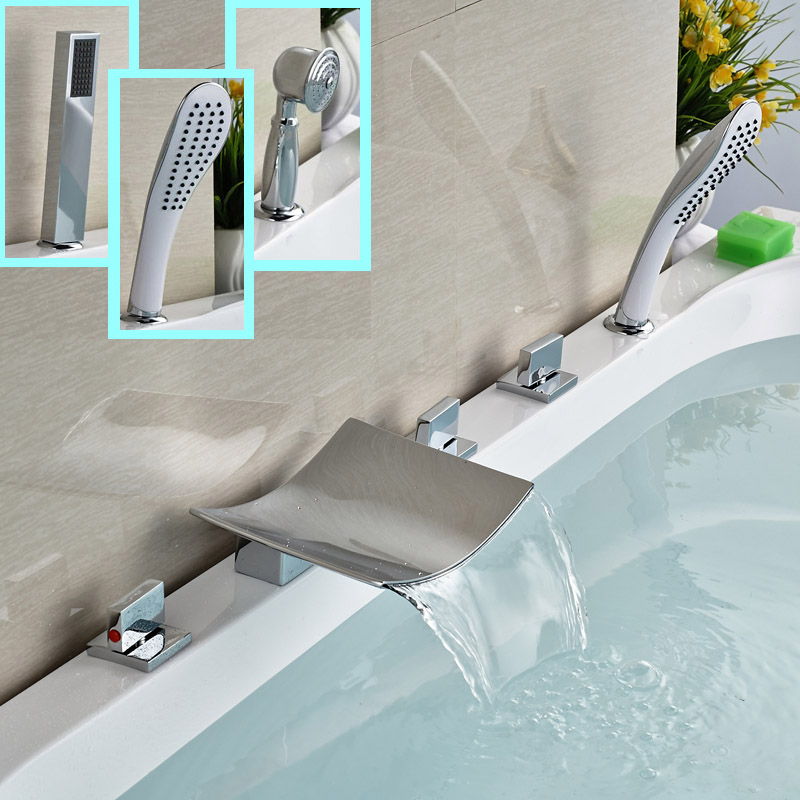 цена на New Chrome Bathtub Faucet 5pcs Brass Waterfall Bathroom Tub Shower Mixers Three Handles with Handshower
