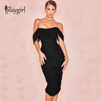 Slaygirl Off Shoulder Party Sexy Dress Summer Women Backless Bodycon Black Dress Midi Club Dress Female Elegant Vestidos Office