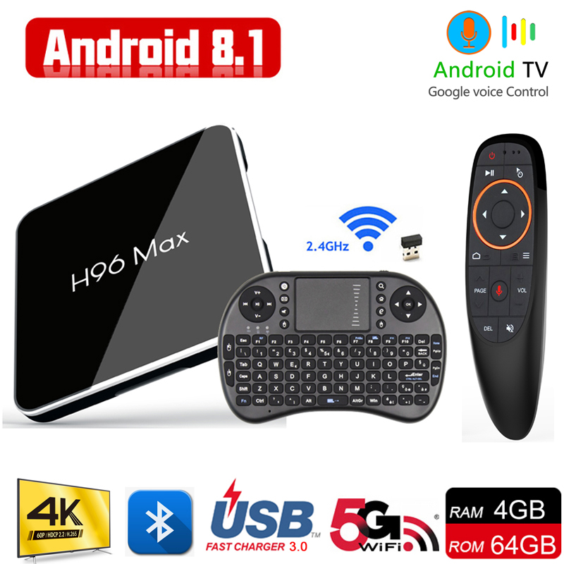 Original Smart Android TV BOX Voice Control Amlogic S905X2 4G 64G Support Youtube Play Store H