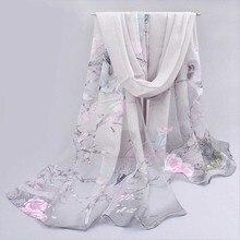 Mode Femmes Écharpe Impression Floral de Mousseline de Soie Foulard Châle  Wrap Hijab Écharpes D  c462d3f676d