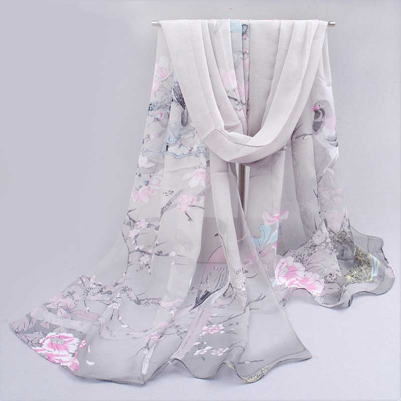 Fashion Women   Scarf   Printing Floral Chiffon Neck   Scarf   Shawl   Wrap   Hijab Summer Women's   Scarves   Foulard Bufandas Accessories
