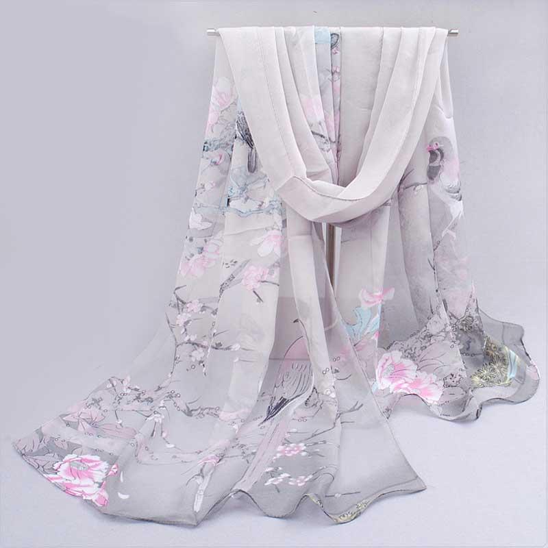 Fashion Women Scarf Printing Floral Chiffon Neck Scarf Shawl Wrap Hijab Summer Womens Scarves Foulard Bufandas Accessories