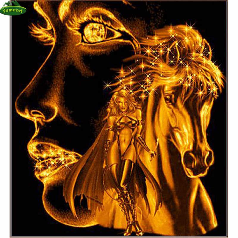 Diyのダイヤモンド絵画動物ゴールデン馬5d平方ダイヤモンド刺繍クロスステッチキットダイヤモンド塗料フル刺繍
