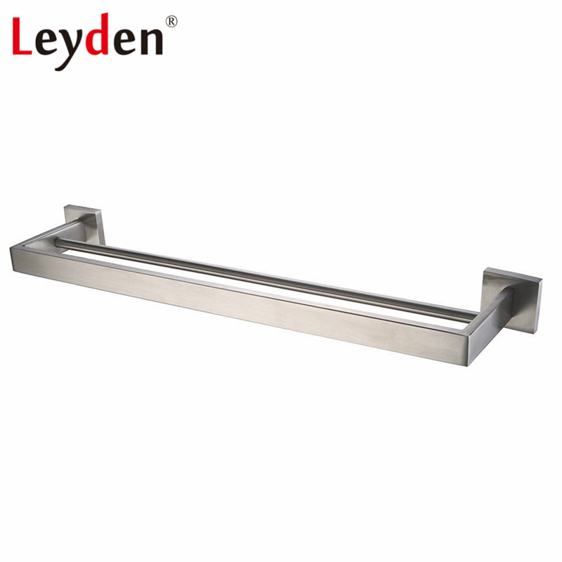 Us 35 18 46 Off Leyden Double Square Towel Bar Wall Mounted 304 Sus Stainless Steel Holder Bath Modern Rail Bathroom Accessories In