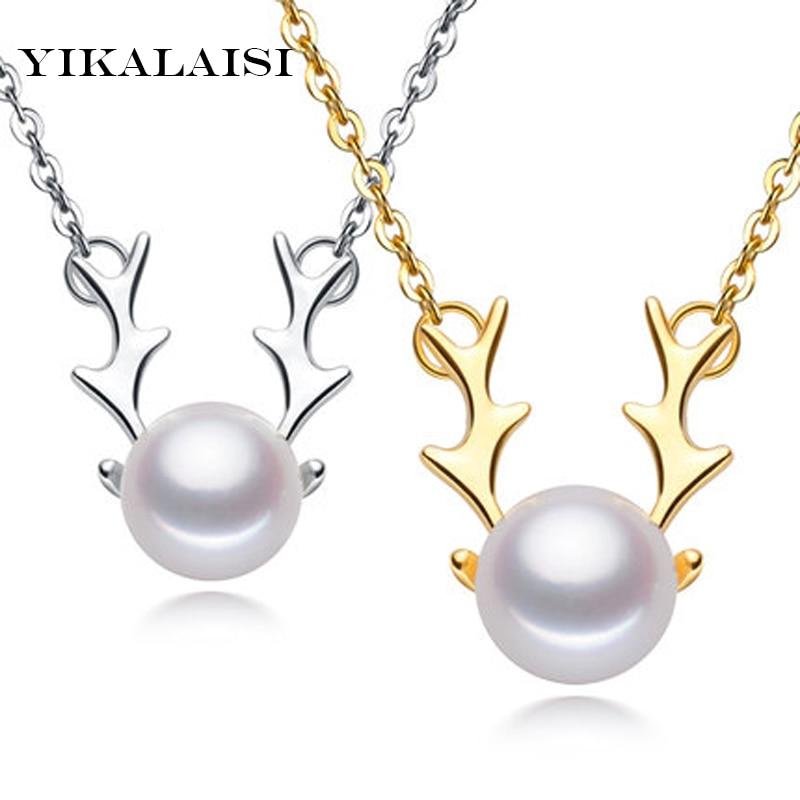 YIKALAISI 925 бижута от сребро за жени перлени огърлици бижута естествени перлени елени висулки коледен подарък