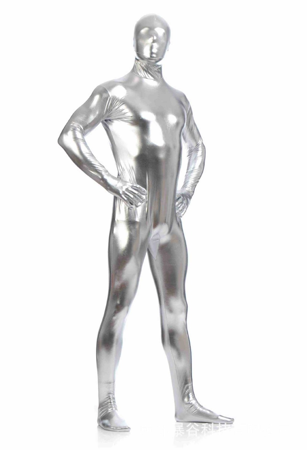 (AL910)Silver Shiny Metallic Tights Unisex original Fetish Zentai Suits Second Skin Fetish Zentai Wear