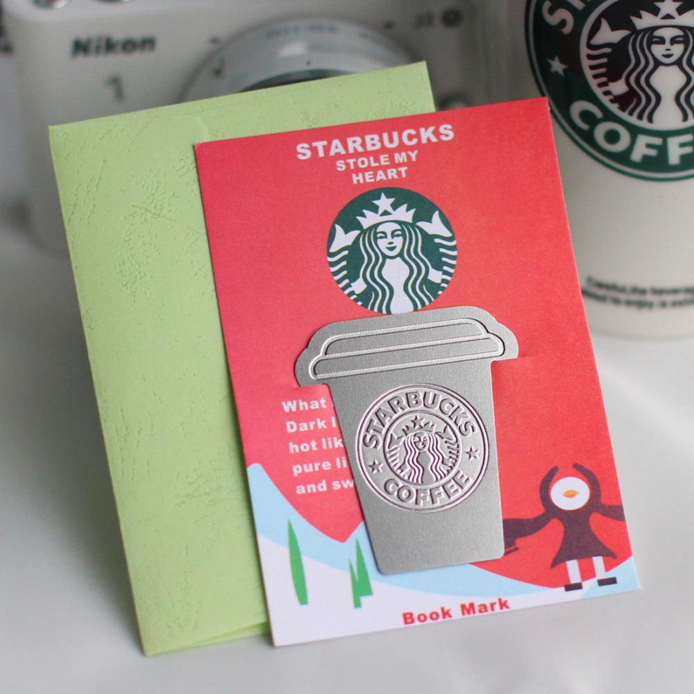 1 pcs Creative Kawaii Starbuck Cup Style Snow Metal Bookmarks Collector's Edition School Office Supplies High Quality Gift 01447