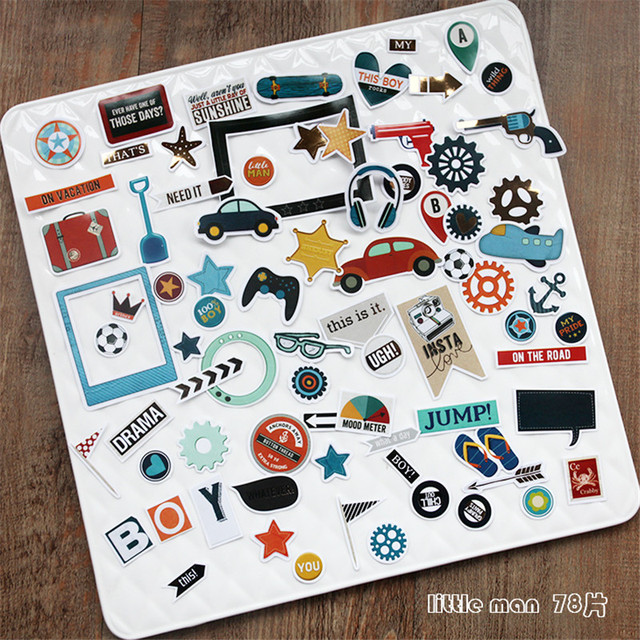 78pcs pack boy series decorative pre die cut stickers for diy scrapbooking planner