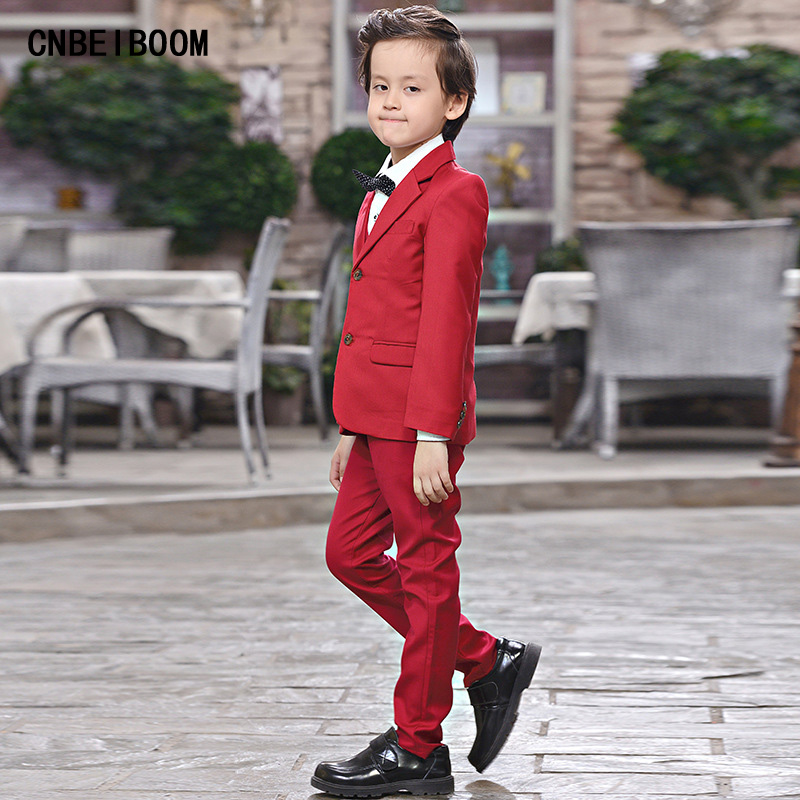 2018 New Fashion Red Baby Boys Suit Kids Blazers Boy Suit For Weddings Prom Formal Spring Autumn Wedding Dress Boy Suits цена
