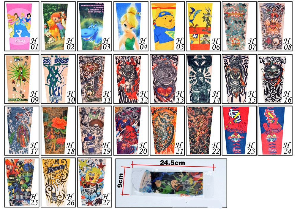 17 New kids cool Cartoon sunscreen tatoo Child arm art sleeve cycling temporary tattoo Stretchy scorpion fake tattoo sleeves 10