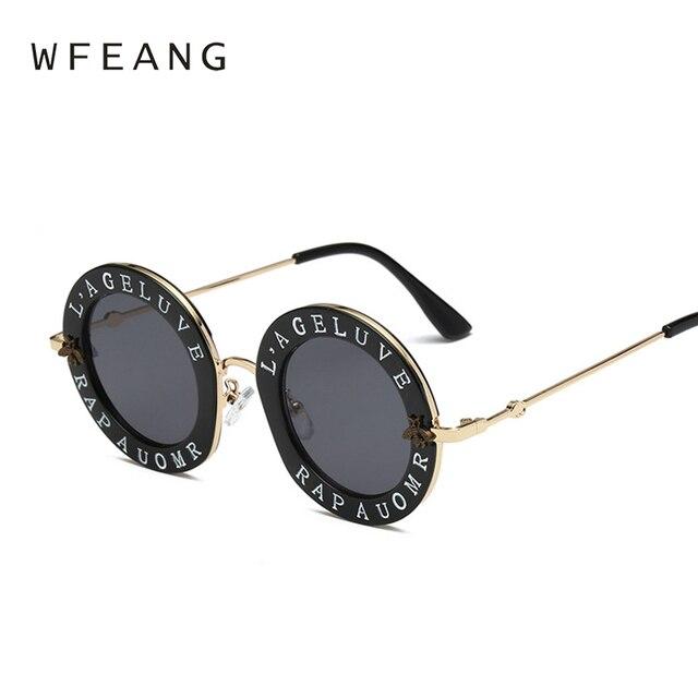 5e8f885ae9f WFEANG Retro Round Sunglasses English Letters Little Bee Sun Glasses Men  Women Brand Glasses Designer Fashion Male Female