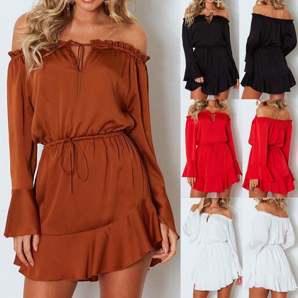 Summer Fashion Women Solid Flare Sleeve Slash-Neck Off Shoulder Club Party Mini Dress
