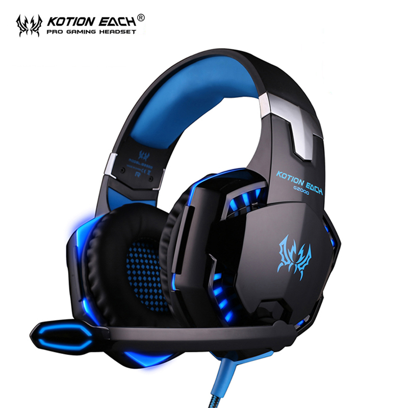 KOTION EACH G2000 Gaming headset gamer pc gamer headphones headphone earphone auriculares fone de ouvido with microphone LED fashion game headband headphone kotion each g9000 led light gaming headset earphone with mic for laptop gamer fone de ouvido