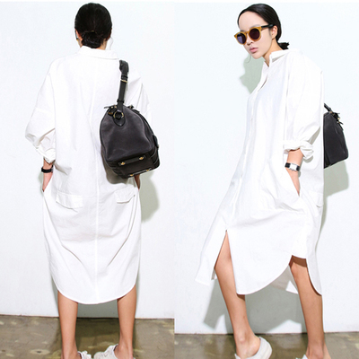 HOT Autumn Women Long Shirts Star Model Is Very Small Buttoned Pockets Garments Loose Blouse Shirt White 3263