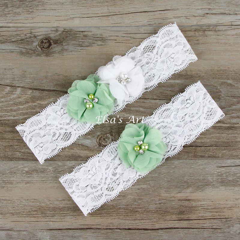 Vintage Lace Wedding Garter Set: Wedding Garter 2pcs /lot White Celery Green Vintage Lace