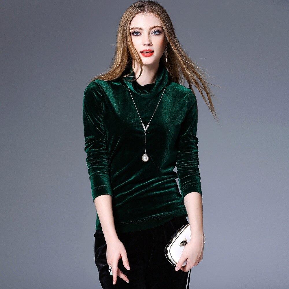 shirt 2017 Mince Mode Vert Chemises T Femme Marque marine Élastique Vente Chaude kaki Dame Sous Lipsense Pleuche De Bleu Solide Col Tmall Roulé Automne Printemps 8xwIUF4